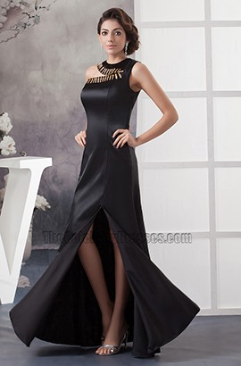 Asymmetric Neckline Black Long Evening Gown Formal Prom Dresses