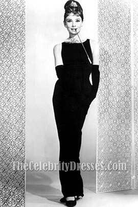Audrey Hepburn Black Prom Dress In Breakfast at Tiffany's