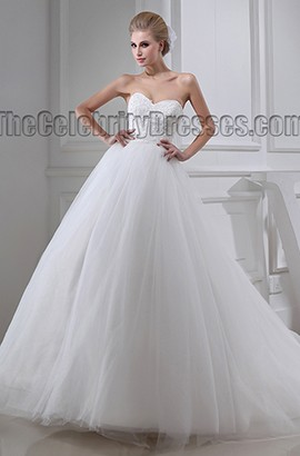Ball Gown Strapless Embroidered Tulle Lace Up Wedding Dress