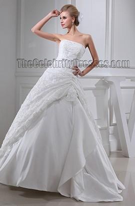 Ball Gown Strapless Lace Floor Length Taffeta Wedding Dresses