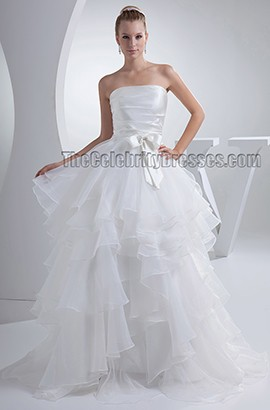 Ball Gown Strapless Sweep Brush Train Organz Wedding Dresses