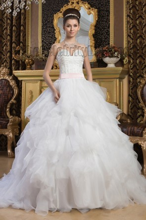 Ball Gown Strapless Sweetheart Beaded Chapel Train Wedding Dresses