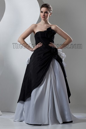 Black And Silver Strapless A-Line Formal Dress Prom Gown