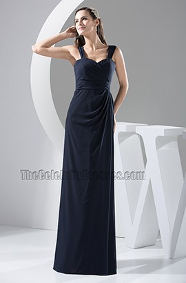 Discount Dark Navy Chiffon Bridesmaid Dress Prom Gown