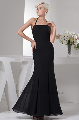 Discount Black Halter Chiffon Floor Length Prom Gown Evening Dress