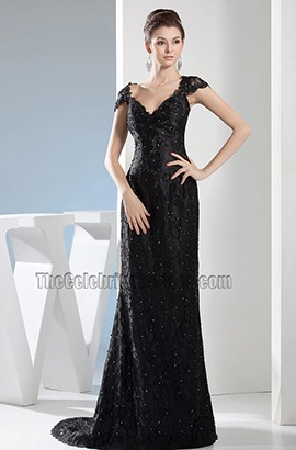 Black Lace V-Neck Formal Dress Evening Gown With Beading
