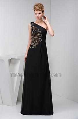Elegant Black One Shoulder Beaded Formal Gown Evening Dresses