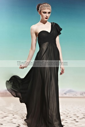 Black One Shoulder Floor Length Prom Gown Evening Dresses
