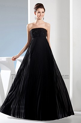Black Strapless A-Line Full Length Prom Gown Evening Dresses