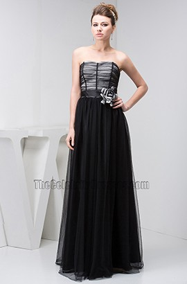 Classic Black Strapless Tulle Formal Dress Prom Evening Gown