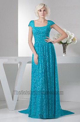 Blue Cap Sleeve Lace Formal Dress Prom Evening Gowns