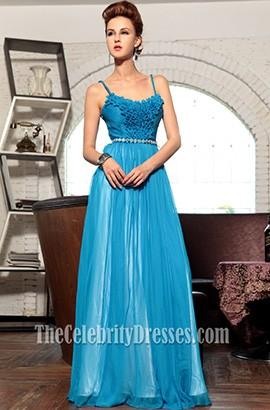 Blue Chiffon Spaghetti Straps Prom Gown Evening Formal Dress