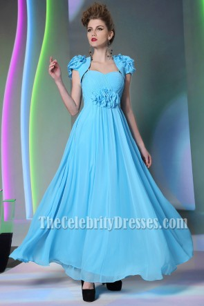 Blue Floor Length Chiffon Prom Gown Evening Dress With A Wrap