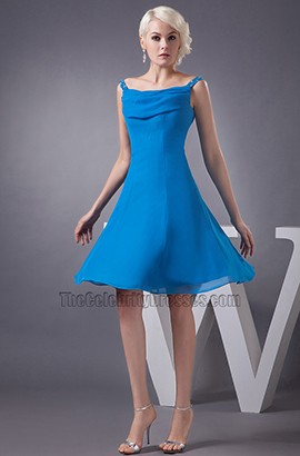 Blue Knee Length A-Line Chiffon Cocktail Graduation Dresses