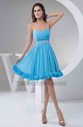 Blue Strapless A-Line Chiffon Cocktail Party Graduation Dresses