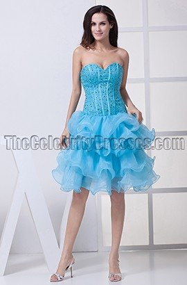 A-Line Blue Strapless Organza Homecoming Party Dresses