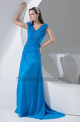 Blue V-Neck Chiffon Sweep/Brush Train Evening Formal Dresses
