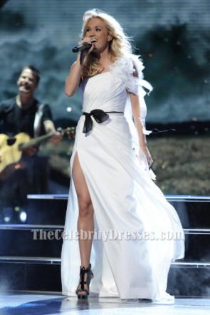 FOXのアメリカンアイドルシーズン11でキャリーアンダーウッドホワイトワンショルダーイブニングドレス