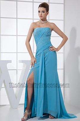 Blue Beaded Strapless Prom Gown Formal Dresses