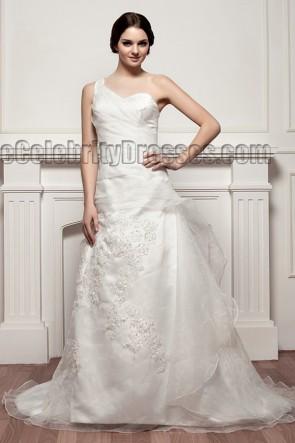 Celebrity Inspired A-Line One Shoulder Chapel Train Wedding Dresses