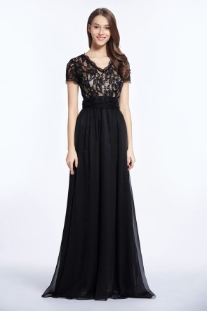 Celebrity Inspired Black Evening Dress Prom Gown TCDBF5001