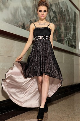 Celebrity Inspired Hi-Low Spaghetti Straps Prom Gown Evening Dresses