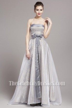 Celebrity Inspired Silver A-Line Formal Dress Prom Gown