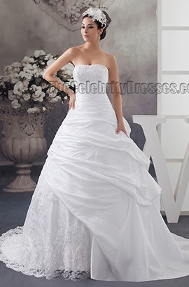 Celebrity Inspired Strapless Ball Gown Beaded Wedding Dresses