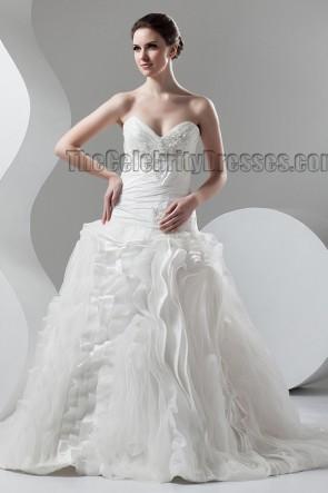 Celebrity Inspired Strapless Chapel Train A-Line Wedding Dresses