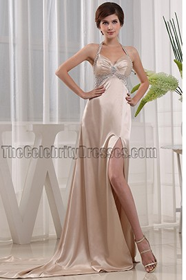 Sexy Halter Beaded Evening Dresses Prom Gowns
