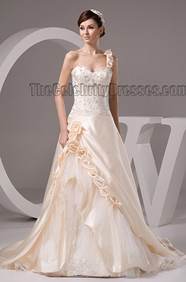 Champagne One Shoulder A-Line Embroidered Beaded Wedding Dresses