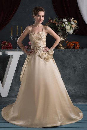 Champagne Spaghetti Straps A-Line Formal Dress Evening Gown