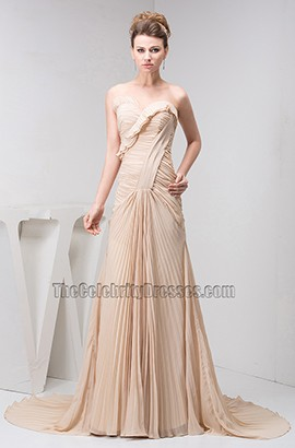 Champagne Strapless Sweetheart Chiffon Evening Formal Dresses