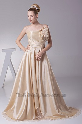 Champagne Strapless Taffeta A-Line Wedding Dresses