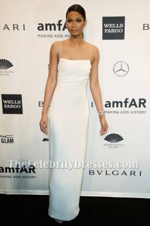 CHANEL IMANホワイトスパゲッティストラップイブニングドレス2014 amfARニューヨークガラ