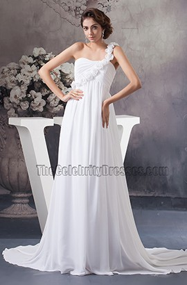 Chapel Train A-Line Chiffon One Shoulder Wedding Dress With Flowers