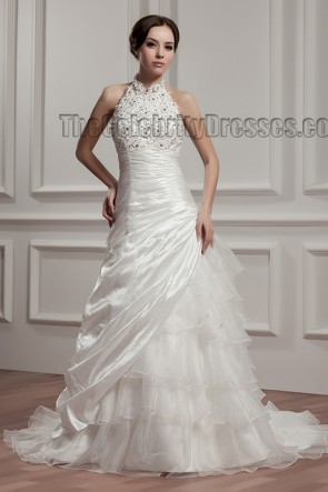 Chapel Train A-Line Halter Embroidered Wedding Dresses