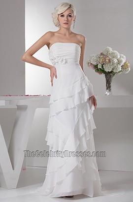 Chapel Train Sheath/Column Strapless Chiffon Wedding Dress