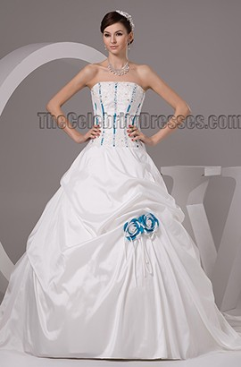 Chapel Train Strapless A-Line Embroidered Wedding Dresses