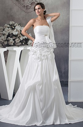 Gorgeous Chapel Train Strapless A-Line Taffeta Wedding Dresses