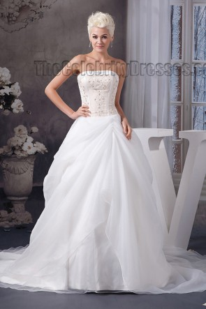 Chapel Train Strapless Beaded A-Line Lace Up Wedding Dress