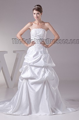 Chapel Train Strapless Embroidered Ruffles Wedding Dresses