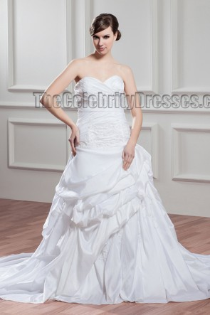Chapel Train Strapless Sweetheart A-Line Wedding Dress