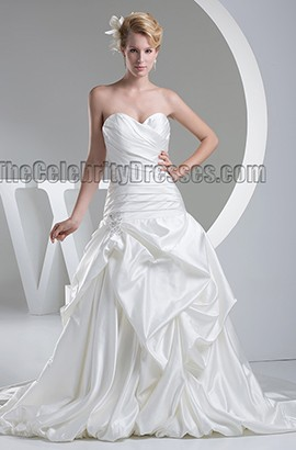 Chapel Train Strapless Sweetheart Taffeta Wedding Dresses