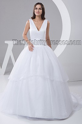 Discount Chapel Train V-Neck Ball Gown Wedding Dresses