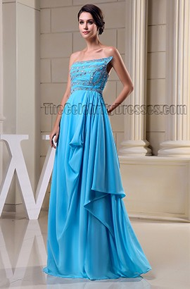 Blue Strapless Beaded Evening Dress Prom Formal Gown