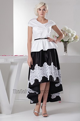 Cap Sleeve White And Black High Low Prom Dress Formal Gown