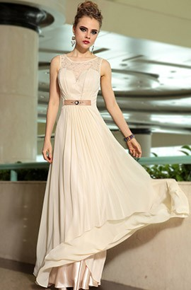Chic Floor Length Champagne Prom Dress Evening Gown