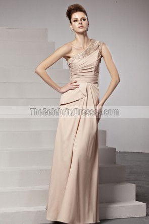 Chic Floor Length One Shoulder Beaded Prom Gown Evening Dress