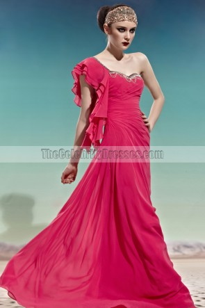 Chic Floor Length One Shoulder Fuchsia Prom Dress Evening Gown